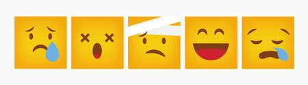 Emoticon Design Reaction Set Square - Vector