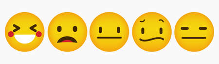 Flat Reaction Emoticon Design Collection Vettoriali