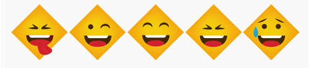 Design Reaction Square Flat Emoticon Collection