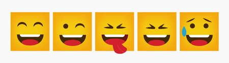 Reaction Design Square Emoticon Set Flat