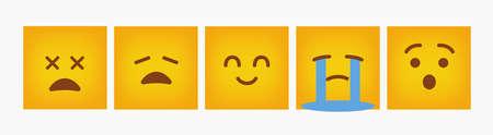 Square Emoticon Reaction Design Set - Vector Vettoriali