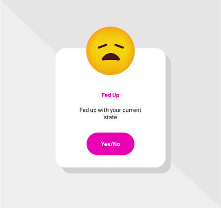 Emoticon Reaction, Fed Up Greeting Card - Vector