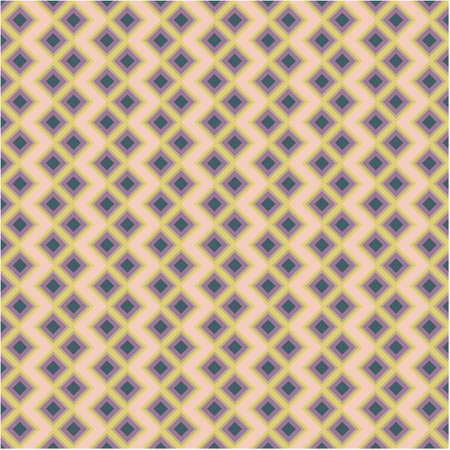 Abstract geometric square background in neutral colors. Seamless yellow purple vector pattern. Fashion fabric patchwork design.