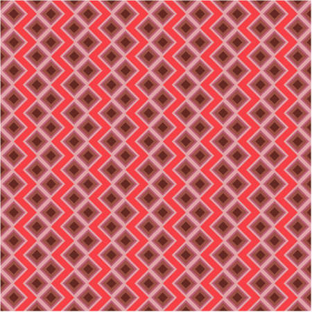 Abstract geometric square background in neutral colors. Red Seamless vector pattern. Fashion fabric patchwork design.