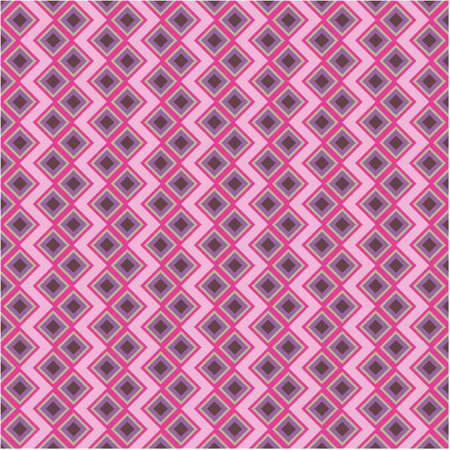Abstract geometric square background in neutral colors. Seamless purple and pink vector pattern. Fashion fabric patchwork design.