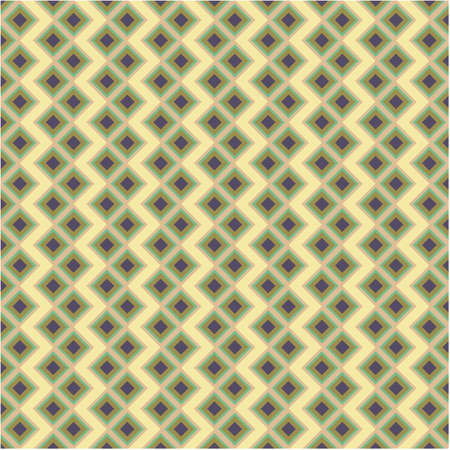 Abstract geometric square background in neutral colors. Seamless green and yellow vector pattern. Fashion fabric patchwork design.