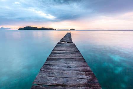 Old wooden pier in Indian ocean