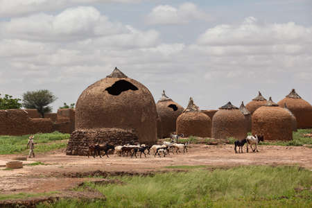 Farmer in western Africa. landscape with traditional african mud huts