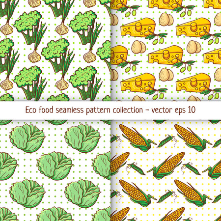 four pattern: Four pattern designs with clean eating illustration background. Appetizing healthy food pattern with vegetables. Illustration