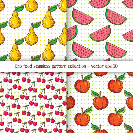 clean: Four pattern designs with clean eating illustration background. Appetizing healthy food pattern with fruits.