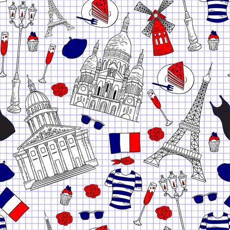 mimari ve binalar: Seamless Fransız seyahat desen. Mimari binaların ve görülecek yerler Paris turistik arka plan. Çizim