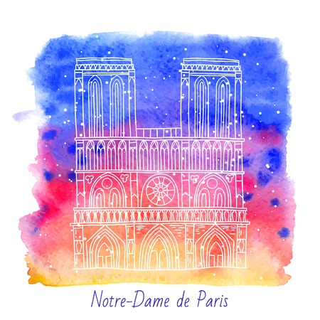 notre dame de paris: french architecture landmark illustration. Notre Dame de Paris cathedral.