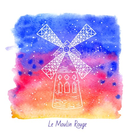 rouge: french architecture landmark illustration. Moulin Rouge in Paris. Illustration