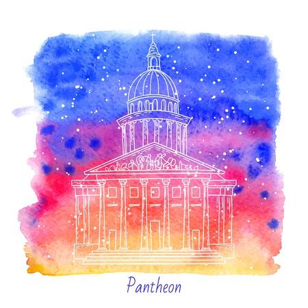 pantheon: french architecture landmark illustration. Pantheon in Paris.
