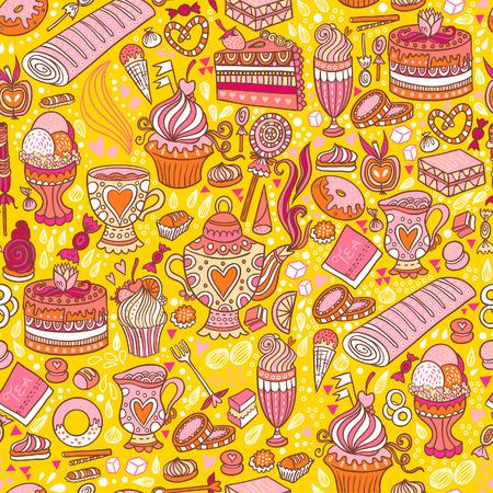 appetizing: Smakelijk theekransje textuur patroon achtergrond met gebak en snoep. Stock Illustratie