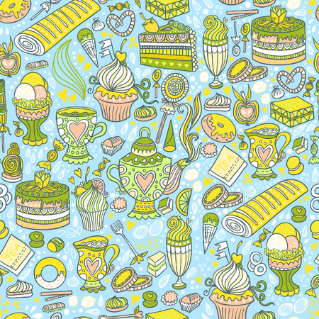 Appetizing tea party texture pattern background with cakes and sweets.