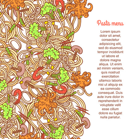 italian cuisine: National picture background. Italian cuisine food with vegetables and curly pasta elements for restaurant menu