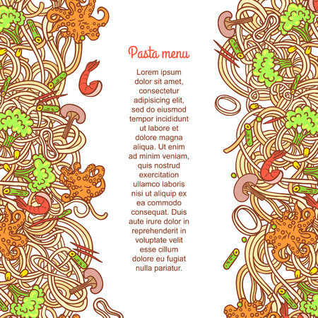 National picture background. Italian cuisine food with vegetables and curly pasta elements for restaurant menu