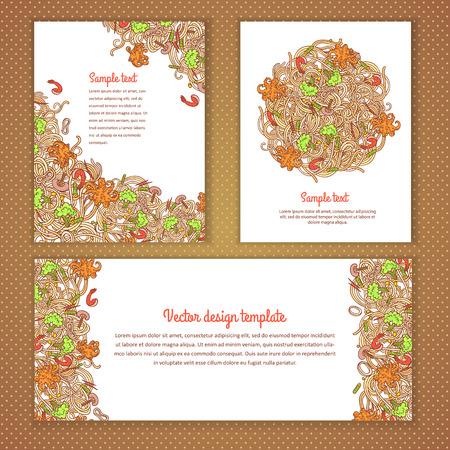Three invitation card design with italian pasta illustration background. design template for card, letter, banner, menu. Vector Illustration