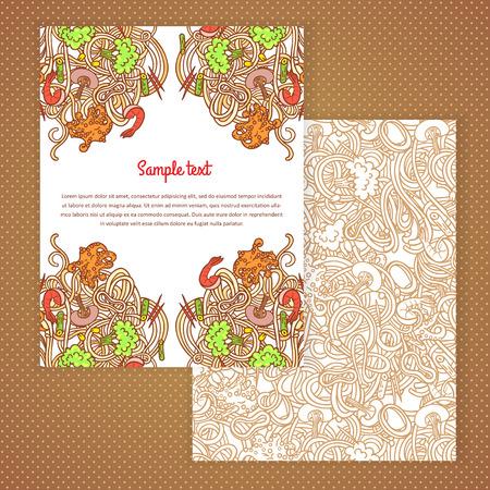 italian pasta: Dise�o de tarjeta de invitaci�n con dos italiano ilustraci�n de pasta de fondo. plantilla de dise�o para la tarjeta, carta, bandera, men�.