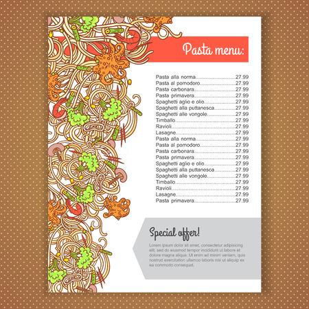 italian pasta: Dise�o de la tarjeta del men� con el italiano ilustraci�n de pasta de fondo. dise�o de la plantilla para el men�, banner y publicidad.