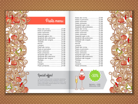 italian pasta: Menu card design with italian pasta illustration background. design template for menu, banner and advertise.
