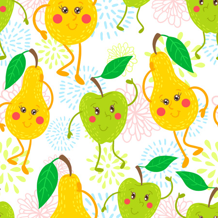 Cute and funky fruit pattern. Apple and pear seamless background.