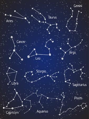 constelaciones: Conjunto de las constelaciones del zodiaco. Vectores
