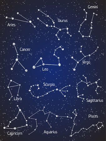zodiac constellations: Set of zodiac constellations. Illustration