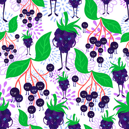 dewberry: Cute and funky fruit pattern. Eldberry and dewberry seamless background.