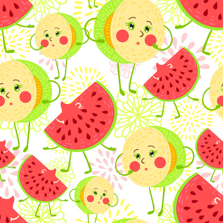 HONEYDEW: Cute and funky fruit pattern. Honeydew and watermelon seamless background.