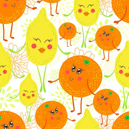 Cute and funky fruit pattern. Orange and lemon seamless background. Vektorové ilustrace