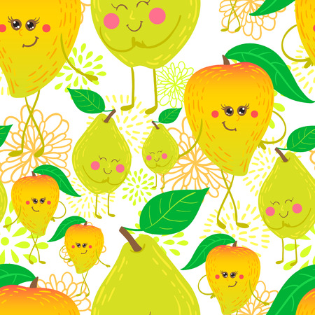quince: Cute and funky fruit pattern. Mango and quince seamless background.