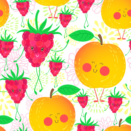 nectarine: Cute and funky fruit pattern. Nectarine and raspberry seamless background.
