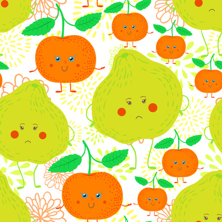 tangerine: Cute and funky fruit pattern. Tangerine and ugli fruit seamless background.