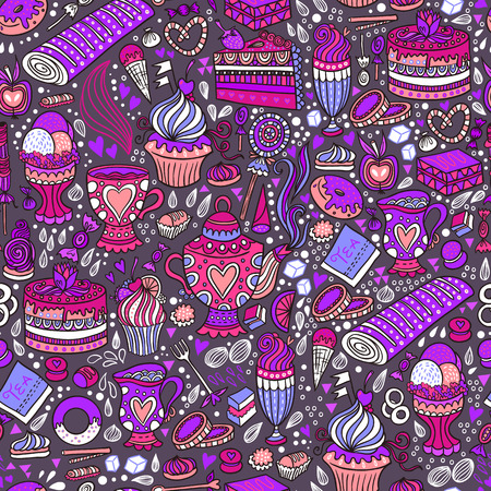 appetizing: Appetizing tea party texture pattern background with cakes and sweets.