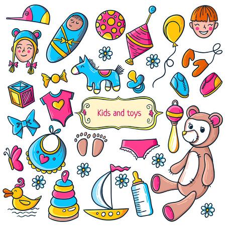 pezones: Niño pequeño y patrón de juguetes chica. Niños perfecta textura de fondo con los niños cosas.