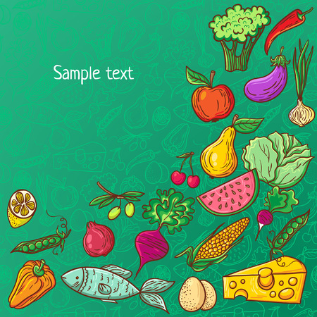 green vegetable: Healthy diet pattern template. Fruit and vegetable endless textured background. Illustration