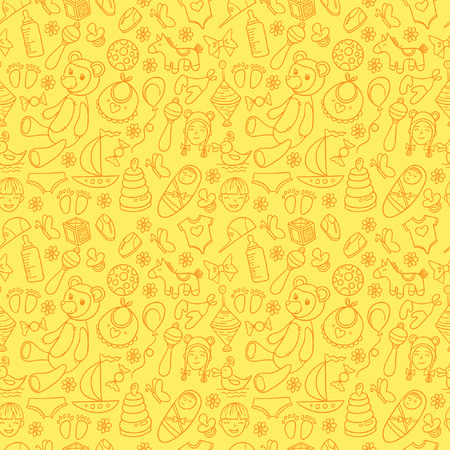 stuff toys: Little boy and girl toys pattern. Kids seamless texture background with children stuff.
