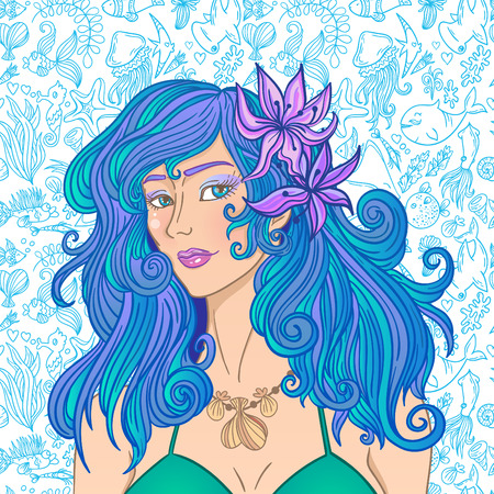 blue hair: Summer girl with blue hair on the sea pattern background. Beautiful woman. Illustration