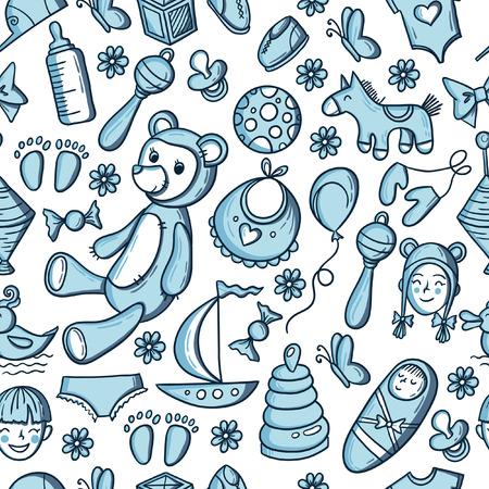 小さな男の子のおもちゃパターン。子供シームレスなテクスチャの背景に子供たちのもの。