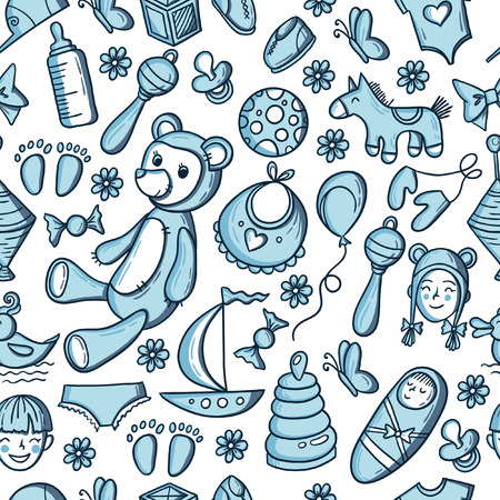 stuff toys: Little boy toys pattern. Kids seamless texture background with children stuff. Illustration