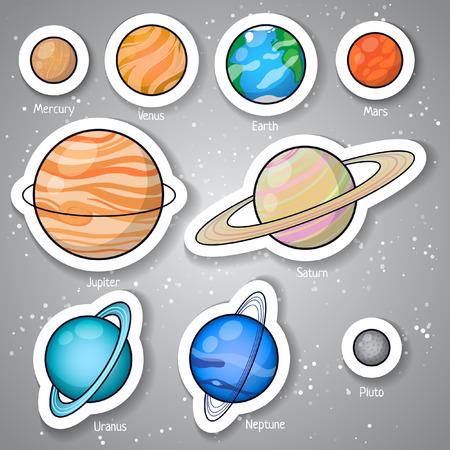 pluto: Set of Solar system planets: Mercury, Venus, Earth, Mars, Jupiter, Saturn, Uranus, Neptune, Pluto. Isolated space illustrations.