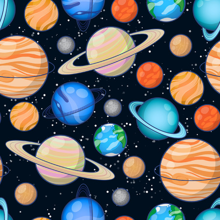Set of Solar system planets: Mercury, Venus, Earth, Mars, Jupiter, Saturn, Uranus, Neptune, Pluto. Seamless space pattern background.