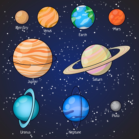 pluto: Set of Solar system planets: Mercury, Venus, Earth, Mars, Jupiter, Saturn, Uranus, Neptune, Pluto. Isolated space illustrations.