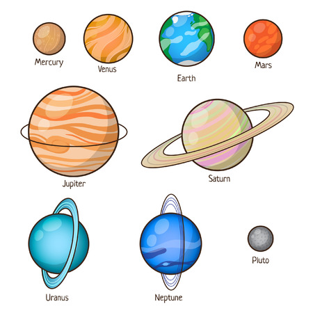 venus: Set of Solar system planets: Mercury, Venus, Earth, Mars, Jupiter, Saturn, Uranus, Neptune, Pluto. Isolated space illustrations.