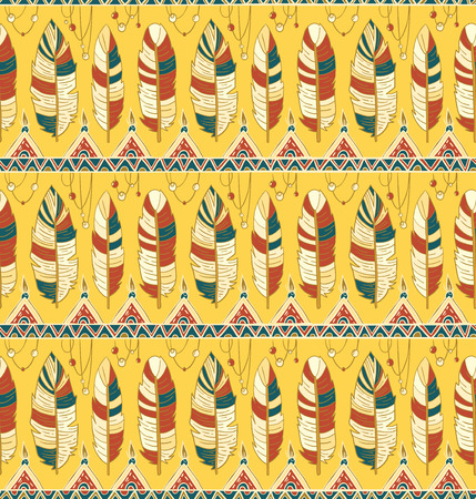 ethnical: Seamless romb background. Endless geometric pattern. Native american indigenous ornamental seamless pattern background with feathers and totem poles.