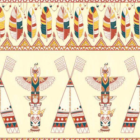 Seamless romb background. Endless geometric pattern. Native american indigenous ornamental seamless pattern background with feathers and totem poles.