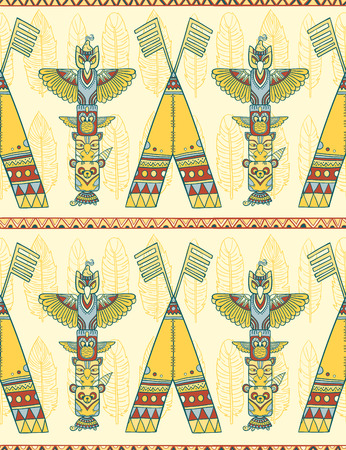 indigenous: Seamless romb background. Endless geometric pattern. Native american indigenous ornamental seamless pattern background with feathers and totem poles.