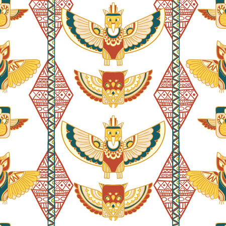 indigenous: Seamless rhombus background. Endless geometric pattern. Native American indigenous ornamental seamless pattern background with feathers and totem poles.